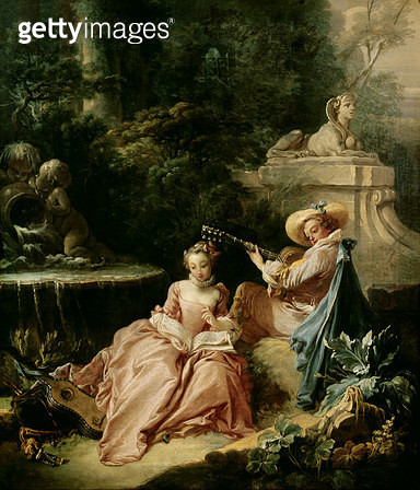 <b>Title</b> : The Music Lesson, 1749 (oil on canvas)<br><b>Medium</b> : oil on canvas<br><b>Location</b> : Musee Cognacq-Jay, Paris, France<br> - gettyimageskorea
