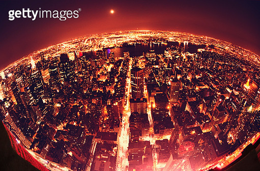 The Earth Globe from Manhattan in night - NYC - gettyimageskorea
