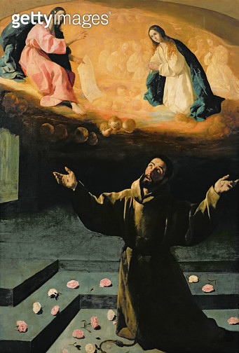 <b>Title</b> : St. Francis of Assisi, or The Miracle of the Roses, 1630 (oil on canvas)Additional InfoSan Francisco en la Porciuncula;<br><b>Medium</b> : oil on canvas<br><b>Location</b> : Museo de Cadiz, Spain<br> - gettyimageskorea