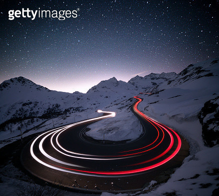Stars on car trails lights, Bernina Pass, Engadin, Switzerland - gettyimageskorea