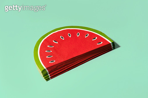Paper slice of watermelon on a green turquoise background. Minimalist composition, 2020 summer concept - gettyimageskorea