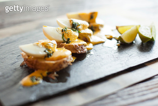 Appetizers arranged on plate - gettyimageskorea