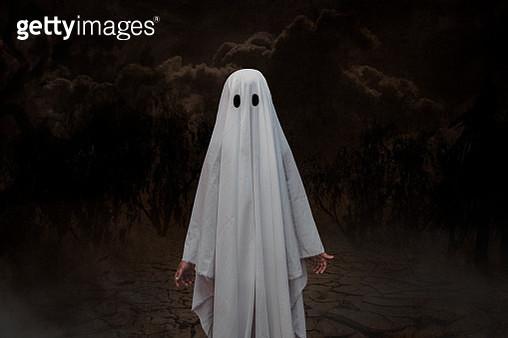 Boy In Spooky Costume Standing Outdoors - gettyimageskorea