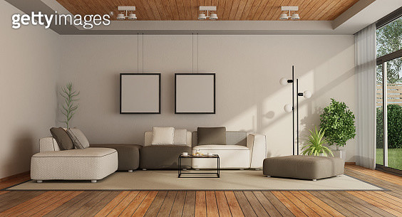 Empty Furniture In Living Room At Home - gettyimageskorea