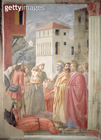 <b>Title</b> : St. Peter Distributing the Common Goods of the Church and the Death of Ananias, c.1427 (fresco)<br><b>Medium</b> : <br><b>Location</b> : Brancacci Chapel, Santa Maria del Carmine, Florence, Italy<br> - gettyimageskorea