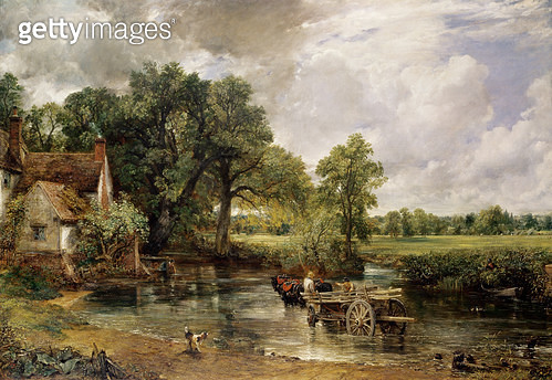 <b>Title</b> : The Hay Wain, 1821 (oil on canvas)<br><b>Medium</b> : oil on canvas<br><b>Location</b> : National Gallery, London, UK<br> - gettyimageskorea