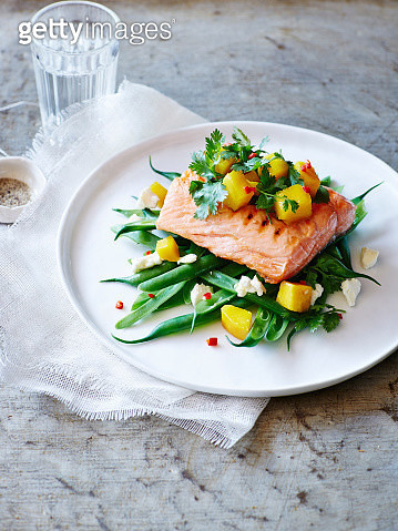 Still life of plate with mango coriander salsa trout - gettyimageskorea