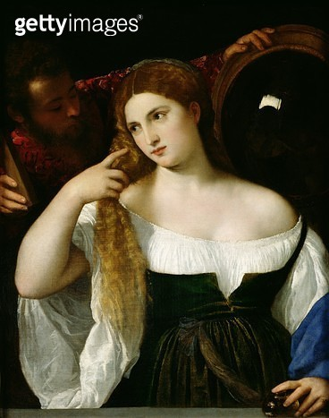 <b>Title</b> : Portrait of a Woman at her Toilet, 1512-15 (oil on canvas)<br><b>Medium</b> : oil on canvas<br><b>Location</b> : Louvre, Paris, France<br> - gettyimageskorea
