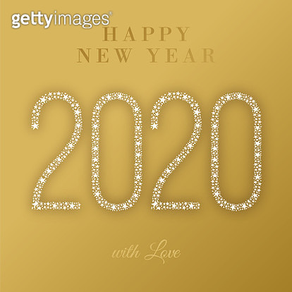 2020 - Happy New Year Greeting card. Winter holiday design template. stock illustration - gettyimageskorea