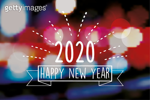 vintage new year 2020 line badge on blurred colorful background - gettyimageskorea