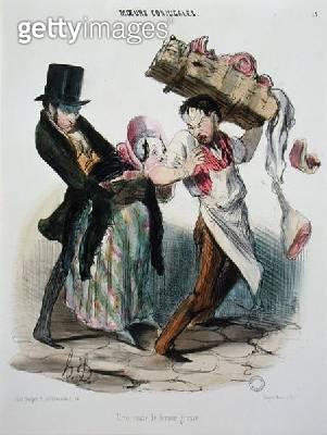 <b>Title</b> : Pregnant woman's craving: the butcher, 19th century (colour litho)Additional InfoUne envie de femme enceinte, le boucher; carryi<br><b>Medium</b> : colour lithograph<br><b>Location</b> : Ordre National des Pharmaciens, Paris, France<br> - gettyimageskorea