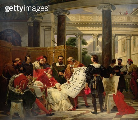 <b>Title</b> : Pope Julius II ordering Bramante, Michelangelo and Raphael to construct the Vatican and St. Peter's, 1827 (oil on canvas) (see also 157492)<br><b>Medium</b> : oil on canvas<br><b>Location</b> : Louvre, Paris, France<br> - gettyimageskorea