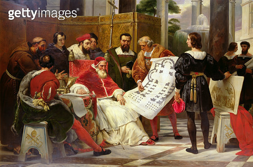 <b>Title</b> : Pope Julius II ordering Bramante, Michelangelo and Raphael to construct the Vatican and St. Peter's, 1827 (oil on canvas) (detail from 157491)<br><b>Medium</b> : oil on canvas<br><b>Location</b> : Louvre, Paris, France<br> - gettyimageskorea