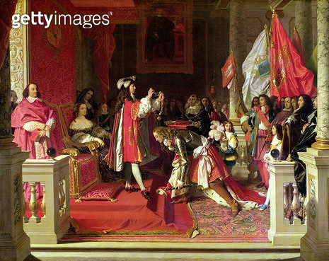 <b>Title</b> : King Philip V (1683-1746) of Spain Making Marshal James Fitzjames (1670-1734) Duke of Berwick a Cavalier of the Golden Fleece after the Battle of Almansa (oil on canvas)<br><b>Medium</b> : oil on canvas<br><b>Location</b> : Collection of th - gettyimageskorea