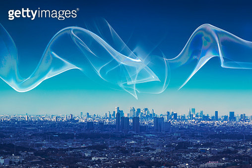 Light trail over the city - gettyimageskorea