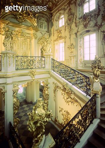 <b>Title</b> : Merchants Staircase, from Petrodvorets Palace, St. Petersburg, designed 1747-53, by Count B.F. Rastrelli (1700-71)<br><b>Medium</b> : <br><b>Location</b> : Credit: Bridgeman Art Library, London<br> - gettyimageskorea