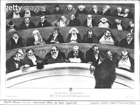 <b>Title</b> : The Stomach of the Legislature, the Ministerial Benches of 1834 (litho) (b/w photo)<br><b>Medium</b> : lithograph<br><b>Location</b> : Bibliotheque Nationale, Paris, France<br> - gettyimageskorea