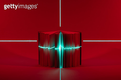 Laser Focusing on Opened Book Against Deep Red Tone Background. Searching and Locating Concept. - gettyimageskorea