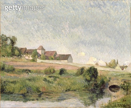 <b>Title</b> : La Ferme de la Groue, Osny, 1883 (oil on canvas)<br><b>Medium</b> : oil on canvas<br><b>Location</b> : Private Collection<br> - gettyimageskorea