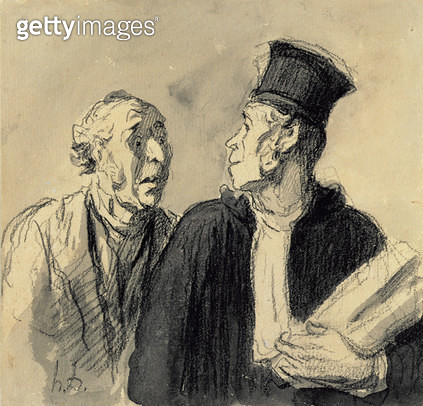 <b>Title</b> : The Lawyer and his Client (crayon & wash on paper)<br><b>Medium</b> : crayon and wash on paper<br><b>Location</b> : Private Collection<br> - gettyimageskorea