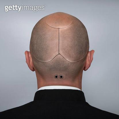 Head portrait of a man looking like a cyborg. - gettyimageskorea