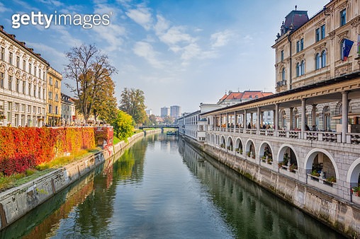 River Canal in Historic Old Town Ljubljana - gettyimageskorea