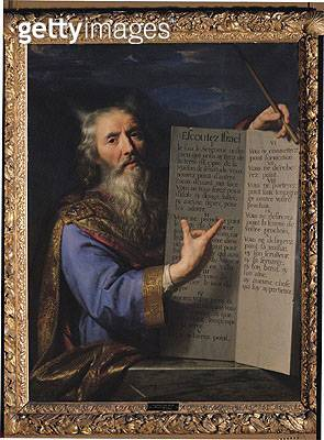 <b>Title</b> : Moses with the Tablets of the Law, 1663 (oil on canvas)Additional InfoMoise Presentant les Tables de la Loi;<br><b>Medium</b> : <br><b>Location</b> : Musee de Picardie, Amiens, France<br> - gettyimageskorea