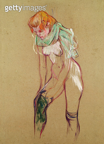 <b>Title</b> : Woman Pulling Up her Stocking, 1894 (oil on card)<br><b>Medium</b> : oil on card<br><b>Location</b> : Musee Toulouse-Lautrec, Albi, France<br> - gettyimageskorea