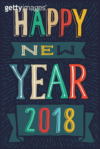 Happy new year hand drawn doodle card 2018 - gettyimageskorea