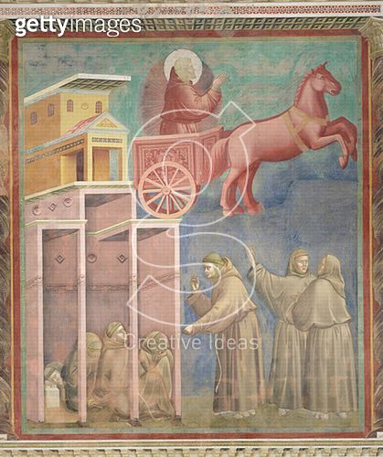 <b>Title</b> : St. Francis Appears to His Companions in a Chariot of Fire, 1296-97 (fresco)<br><b>Medium</b> : fresco<br><b>Location</b> : San Francesco, Upper Church, Assisi, Italy<br> - gettyimageskorea