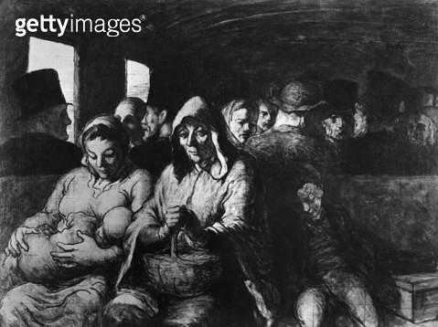 <b>Title</b> : The Third Class Carriage, c.1862-64 (oil on canvas) (b/w photo)<br><b>Medium</b> : oil on canvas<br><b>Location</b> : Metropolitan Museum of Art, New York, USA<br> - gettyimageskorea