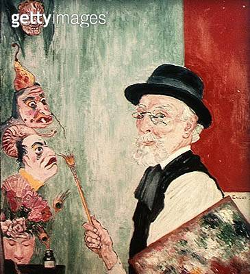 <b>Title</b> : Self Portrait with Masks. 1936 (oil on panel)Additional InfoEnsor a la Palette dit aussi Mon Portrait aux Masques;<br><b>Medium</b> : oil on panel<br><b>Location</b> : Private Collection<br> - gettyimageskorea