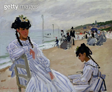 <b>Title</b> : On the Beach at Trouville, 1870-71 (oil on canvas)<br><b>Medium</b> : oil on canvas<br><b>Location</b> : Musee Marmottan, Paris, France<br> - gettyimageskorea