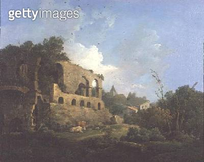 Italianate Landscape with a House near Classical Ruins (oil on canvas) - gettyimageskorea