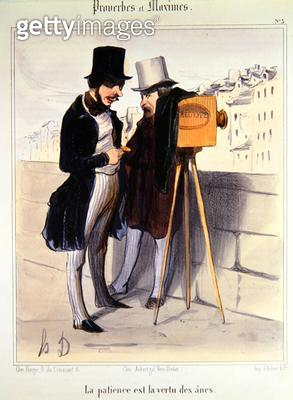<b>Title</b> : Cartoon ridiculing the length of time necessary to take a daguerrotype photo, c.1840 (colour litho)Additional Infocaricature sue<br><b>Medium</b> : colour lithograph<br><b>Location</b> : Private Collection<br> - gettyimageskorea