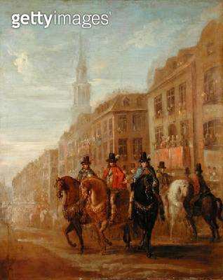 <b>Title</b> : Restoration Procession of Charles II at Cheapside, c.1745 (oil on canvas)<br><b>Medium</b> : oil on canvas<br><b>Location</b> : Yale Center for British Art, Paul Mellon Collection, USA<br> - gettyimageskorea