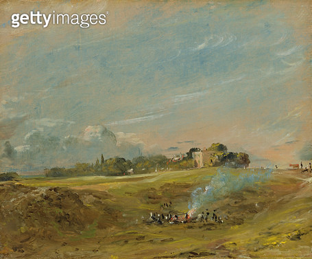 <b>Title</b> : A View of Hampstead Heath, with figures round a bonfire (oil on canvas)<br><b>Medium</b> : oil on canvas<br><b>Location</b> : Yale Center for British Art, Paul Mellon Collection, USA<br> - gettyimageskorea