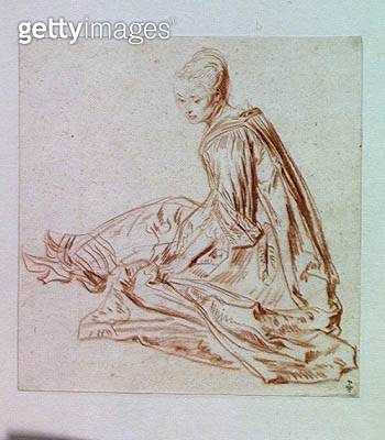 <b>Title</b> : Lady Seated on the Ground (red chalk on paper) (post restoration)<br><b>Medium</b> : red chalk on paper<br><b>Location</b> : Musee Conde, Chantilly, France<br> - gettyimageskorea