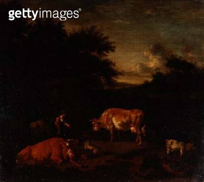 Shepherdess and a Drover with their Flocks by a Classical Fountain in a Wooded Landscape - gettyimageskorea