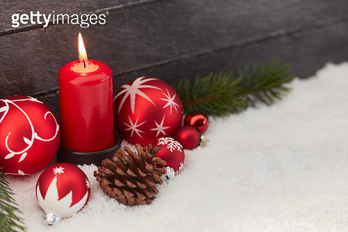 Close-Up Of Christmas Decorations On Fake Snow - gettyimageskorea