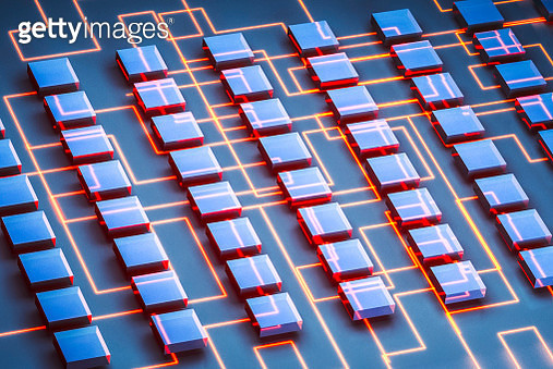 A section of computing nodes on a circuit board shows computing power adn intelligence - gettyimageskorea