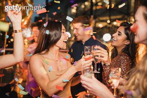 Friends Dancing Together Celebrating New Years Eve - gettyimageskorea