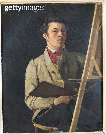 <b>Title</b> : Self Portrait, Sitting next to an Easel, 1825 (oil on canvas)<br><b>Medium</b> : oil on canvas<br><b>Location</b> : Louvre, Paris, France<br> - gettyimageskorea