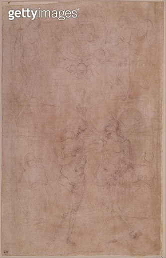 <b>Title</b> : The Baptism of Christ (pencil on paper)<br><b>Medium</b> : pencil on paper<br><b>Location</b> : Musee Bonnat, Bayonne, France<br> - gettyimageskorea