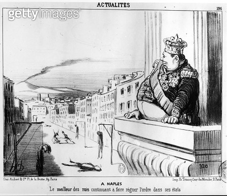 <b>Title</b> : The King Continuing to Reign with Order Over his Two States, Naples (engraving) (b/w photo)Additional Infole meilleur des rois c<br><b>Medium</b> : engraving<br><b>Location</b> : Bibliotheque Nationale, Paris, France<br> - gettyimageskorea