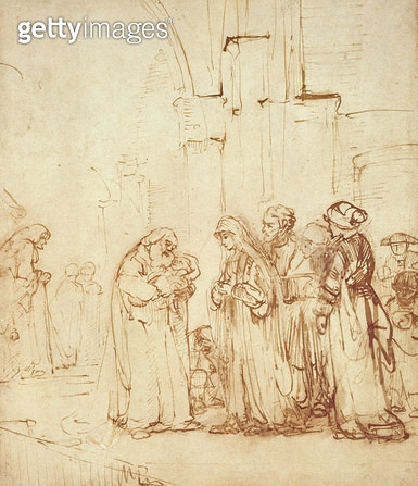 Simeon and Jesus in the Temple (drawing) - gettyimageskorea