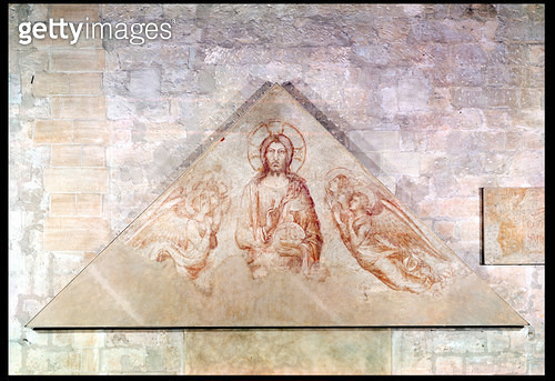 <b>Title</b> : Tympanum depicting Christ the Redemptor surrounded by angels, 1341 (fresco)<br><b>Medium</b> : fresco<br><b>Location</b> : Palais des Papes, Avignon, France<br> - gettyimageskorea