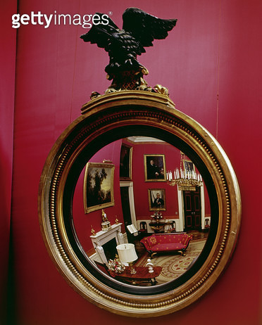 WHITE HOUSE: RED ROOM. /nView of the Red Room in the White House in the reflection of a mirror. Photograph, c1970. - gettyimageskorea