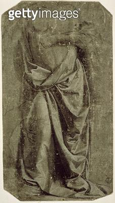 Drapery Study for a Standing Figure Seen from the Front/ c.1478-80 (tempera and white on canvas) - gettyimageskorea