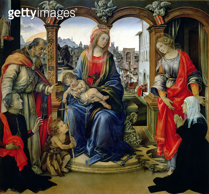 <b>Title</b> : Nerli Altarpiece: Madonna and Child with the young St. John the Baptist, St. Martin, St. Catherine and the donors Tanai and Nann<br><b>Medium</b> : <br><b>Location</b> : Santo Spirito, Florence, Italy<br> - gettyimageskorea